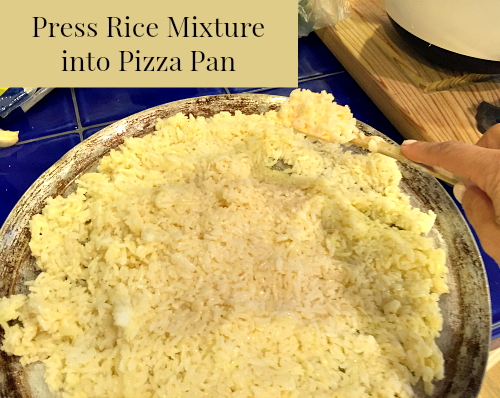 Press Rice Mixture into pizza pan